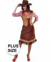 Grote maten lange cowgirl jurk met geruite blouse voor dames