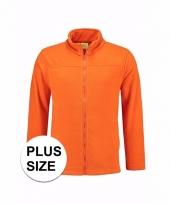 Grote maten oranje fleecevest voor volwassenen