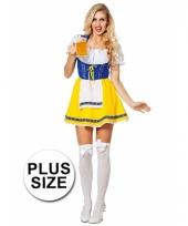 Grote maten tiroler jurk blauw geel