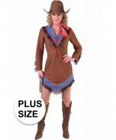 Grote maten western cowgirl jurk bruin voor dames