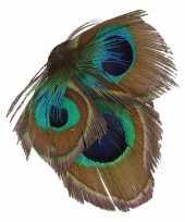 Haarbloem veertjes met klem groen blauw
