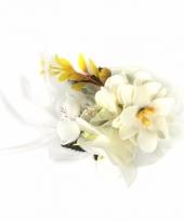 Haarbloemen met klem wit