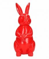 Haas konijn tuin decoratie beeld rood 30 cm