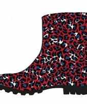 Half hoge dames regenlaarzen rood blauwe panter print voor dames
