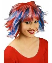 Half lange pixie pruik met rood wit en blauw
