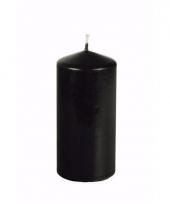 Halloween decoratie stompkaars zwart 15 cm hoog