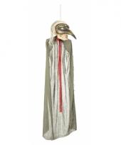 Halloween hangedecoratie skelet met snavelmasker 125 cm