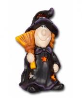 Halloween kaarshouder heks met bezem 10075839