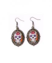 Halloween sugar skull oorbellen goud type 1