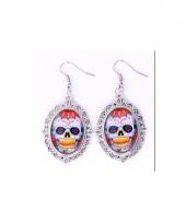 Halloween sugar skull oorbellen zilver type 1