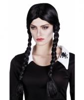 Halloweenpruik zwart met vlechten
