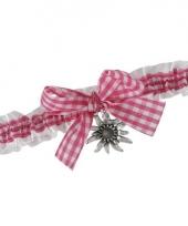 Halslint met strik en roze ruitjes motief