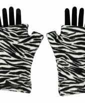 Handschoenen zonder vingers zebra voor volwassenen