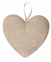 Hangdeco hartje met steentjes 32 cm