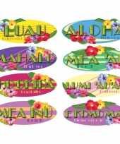 Hangdecoratie borden hawaii thema 8 stuks