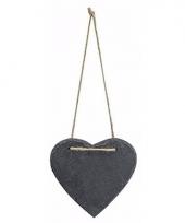Hangdecoratie hart 12 cm van steen