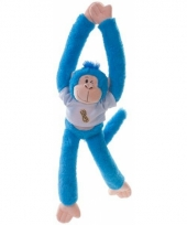 Hangende knuffel aap blauw 40 cm