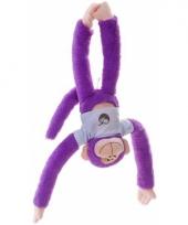 Hangende knuffel aap paars 40 cm