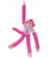 Hangende knuffel aap roze 40 cm