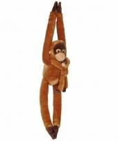 Hangende orang oetan met baby knuffels 84 cm