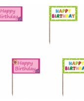 Happy birthday cocktailprikkers 20 stuks