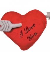 Hartvormig valentijnsdag kussen i love you 60 cm