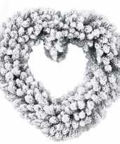 Hartvormige kerstkrans kerstversiering met nepsneeuw 50 cm