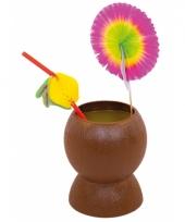 Hawaii feest bekers kokosnoot