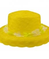 Hawaiikrans hoedje geel organza