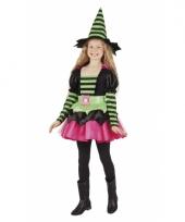 Heksen kostuum gestreept groen roze voor meisjes