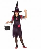 Heksen kostuum paars zwart voor meisjes