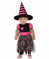 Heksen kostuum zwart roze voor meisjes