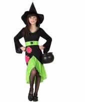 Heksen outfit zwart groen voor meisjes