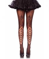 Heksen panty voor dames zwart spinnenweb