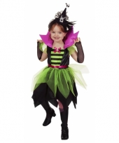 Heksen verkleed jurkje groen zwart voor meisjes