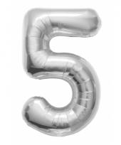 Helium cijfer ballon in zilver 5