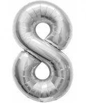 Helium cijfer ballon in zilver 8