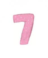 Helium cijfer ballon roze 7