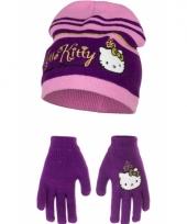 Hello kitty winter accessoires paars