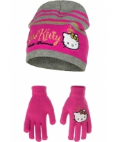 Hello kitty winter accessoires roze met zwart