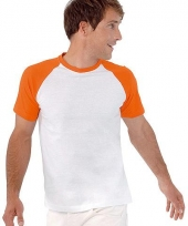 Heren baseball shirt wit oranje