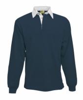Heren navy rugbyshirt met witte kraag