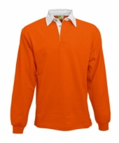 Heren oranje rugbyshirt met witte kraag