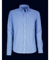 Heren overhemd blauw gestreept met korte mouwen