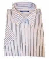 Heren overhemd wit gestreept met korte mouwen 10015772