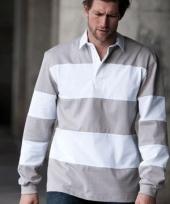 Heren rugbyshirt grijs met wit