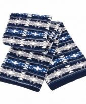 Heren winter sjaal blauw grijs wit