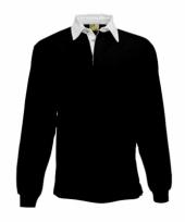 Heren zwart rugbyshirt met witte kraag