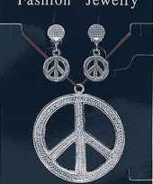 Hippie ketting en oorbellen peace