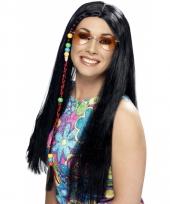 Hippie pruiken zwart voor dames
